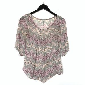 Flowy Sheer Blouse V Neck Floral Pattern Small